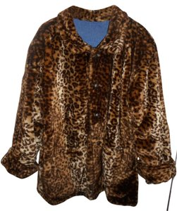 AM Studio by Andrew Marc New Reversibele Leopard Warm Fur Coat