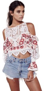 For Love & Lemons Top White and red