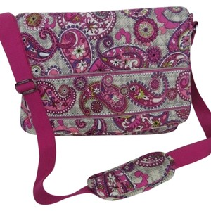 Vera Bradley LIGHT GREY, PINK RASPBERRY, VIOLET Messenger Bag