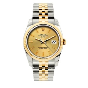 Rolex 34MM ROLEX DATE 2-TONE DIAMOND WATCH WITH ROLEX BOX & APPRAISAL