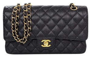 Chanel Quilted Caviar Double Flap Cross Body Bag