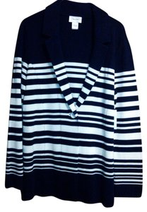 Neiman Marcus Knit Buttons Striped Sweater