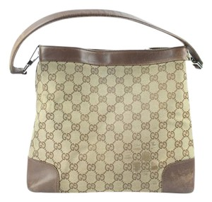 Gucci Satchel Tote Monogram Gg Brown Shoulder Bag