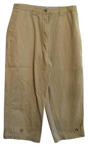 Christopher & Banks Khaki Pants Casual Cotton Cropped Capris Beige