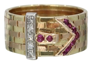 Estate Jewelry Vintage Retro 14K Two Tone Belt Buckle Diamond Ruby Ring Band
