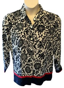 Linea by Louis Dell'Olio Floral Silk Classic Career Top Black, White and Red