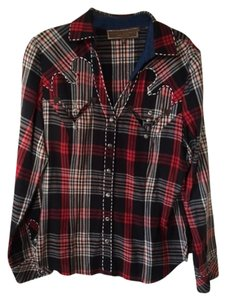 Double D Ranchwear Contrast Stitching Button Down Shirt red/black/cream plaid