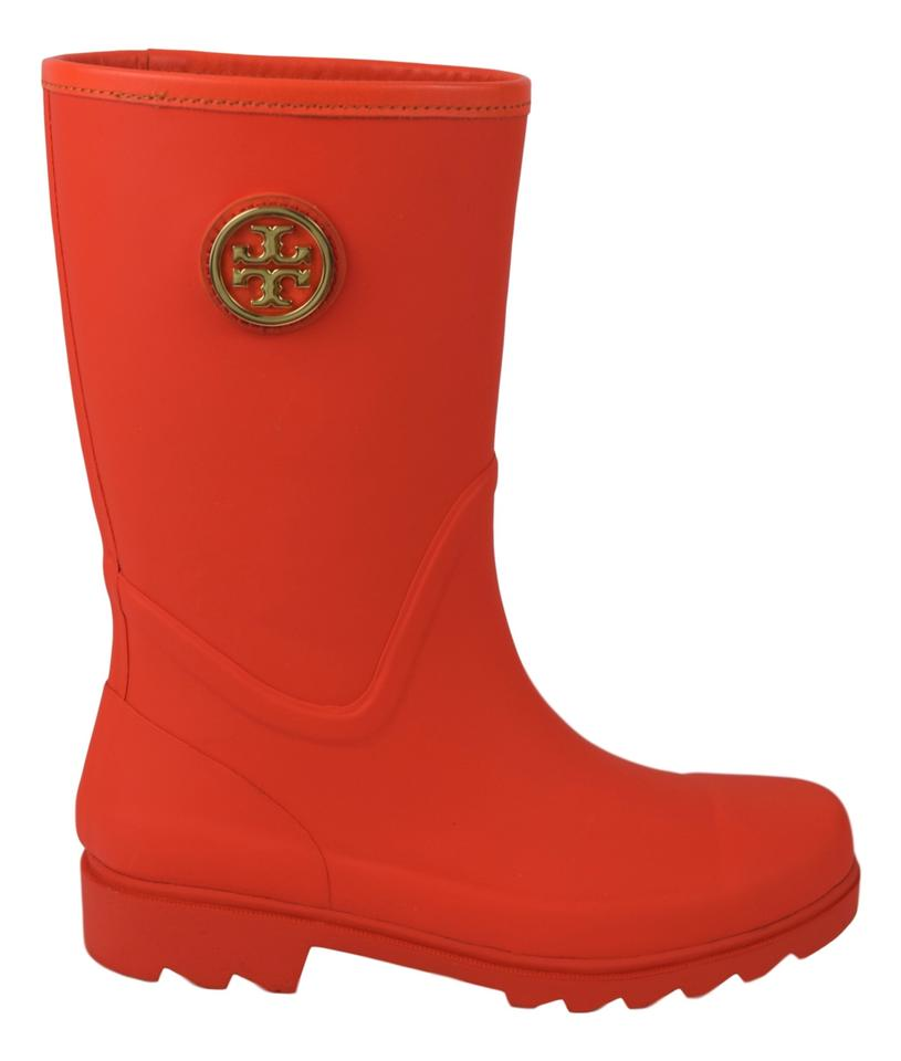 62d2f485ff0a Tory Burch Orange (Poppy Red) Maureen Rain Boots Booties Size US 7 ...