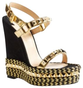 Christian Louboutin Blk gold Wedges
