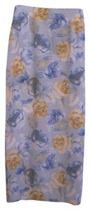 Star City Floral Made In Usa Roses Maxi Skirt Blue