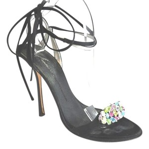 Giuseppe Zanotti Crystal Embellished Lace Up Black Sandals