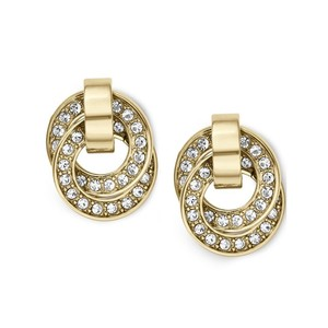 Michael Kors Brilliance Crystal Pave Gold Tone Ring Drop Earring MKJ3433