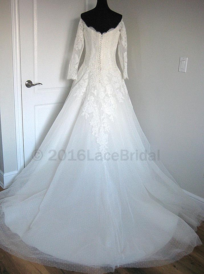 Pronovias Off White Lace Bespin Formal Wedding Dress Size 8 (M ...