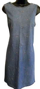 Storm short dress Blue Heritage Denim Jumper Mini Embellished Roses on Tradesy