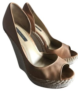 Rachel Zoe Brown Leather Peep Toe Cognac/Nude Platforms