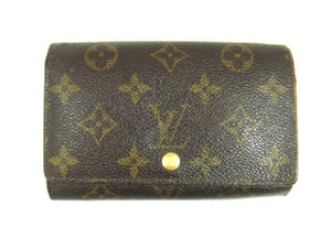 Louis Vuitton Porte Monnaie Tresor Monogram Canvas Leather Clutch Wallet