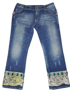 Just Cavalli Jewels Embellished Size 46 Capri/Cropped Denim-Distressed