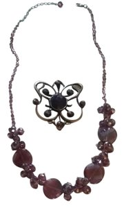 Other Pretty purple stones pin and necklace