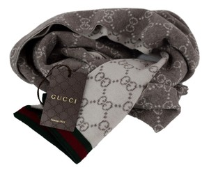 Gucci Gucci 325806 Brown and Ivory Wool GG Guccissima Wool Scarf Muffler