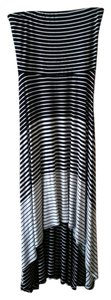 Black & White Maxi Dress by Soma Intimates Convertible Strapless Halter Skirt Striped