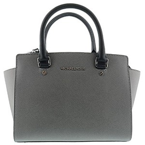 Michael Kors Medium Salma Saffiano Leather Satchel in Steel Grey / Pearl Grey / Black
