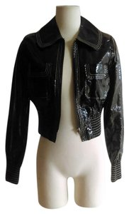 Tracy Reese White Stitching Vinyl Look Black Motorcycle Jacket