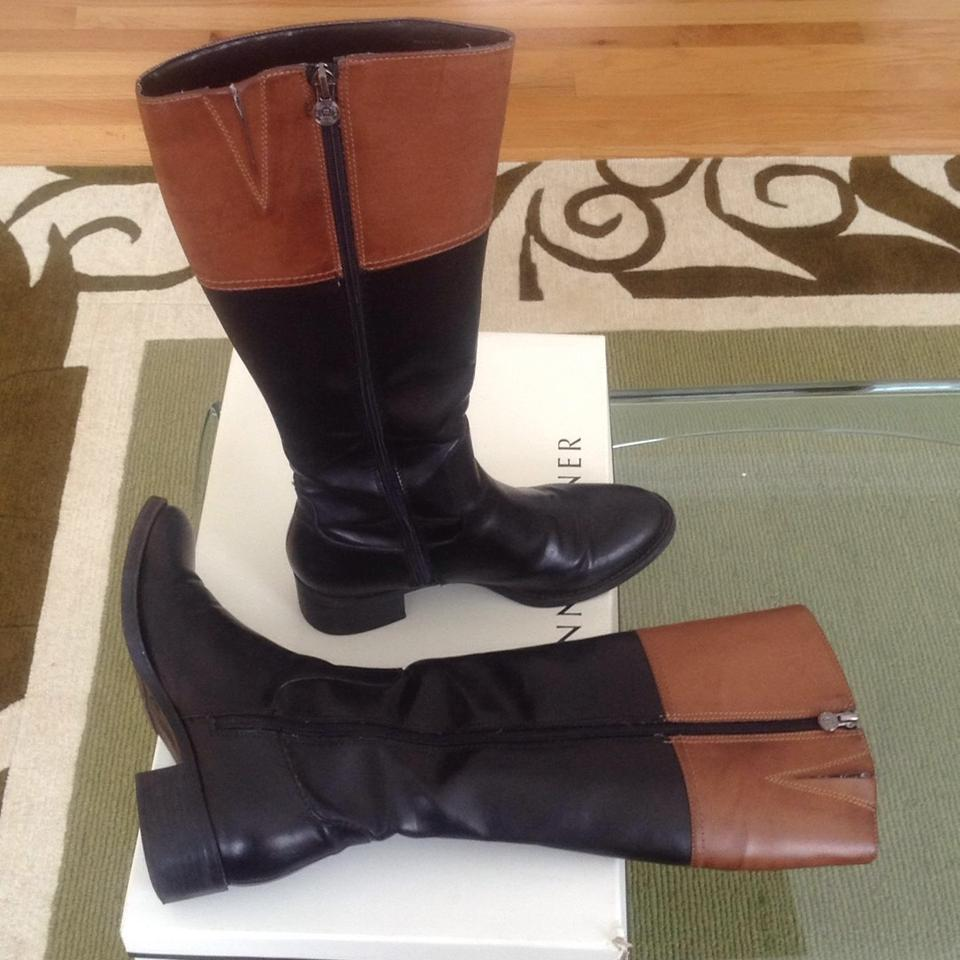 ce9a2127d59 Etienne Aigner Black and Brown Riding Boots/Booties Size US 7.5 Regular (M,  B)