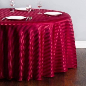 120 Inch Round Striped Satin Tablecloth Burgundy Red - 37 Count