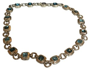 David Yurman David Yurman Renaissance link collar necklace with blue topaz