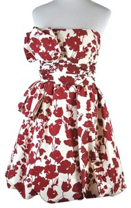 Oscar de la Renta Floral Strapless Formal Cocktail Dress