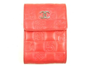 Chanel Storage Case Pouch Charm Icon Leather