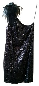 T Tahari Sequin Party One Shoulder Feather Dress