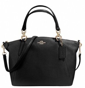 Coach Crossbody Strap And Gold Kelsey Satchel in Black