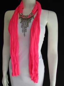 BEAUTIFUL PINK SCARF LONG NECKLACE TRIANGLE SILVER RHINESTONES PENDANT