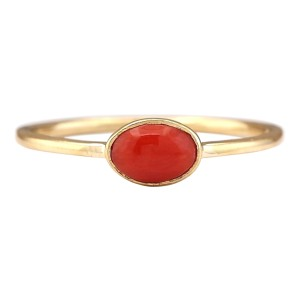 Fashion Strada 0.60 CTW Natural Coral Ring In 14k White Gold