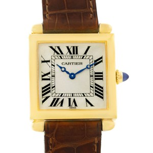Cartier Cartier Tank Obus 18k Yellow Gold Brown Strap Quartz Watch