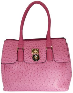 Vecceli Italy Faux Leather Satchel Tote in PINK