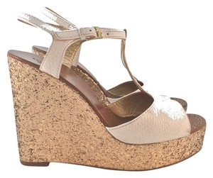 Kate Spade White / Gold Glitter Wedges