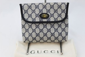 Gucci Blue Coated Canvas navy Clutch