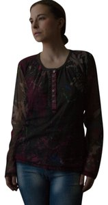 Marc Aurel Vintage 1990s 90s Beaded Top brown, magenta, blue, green, gray