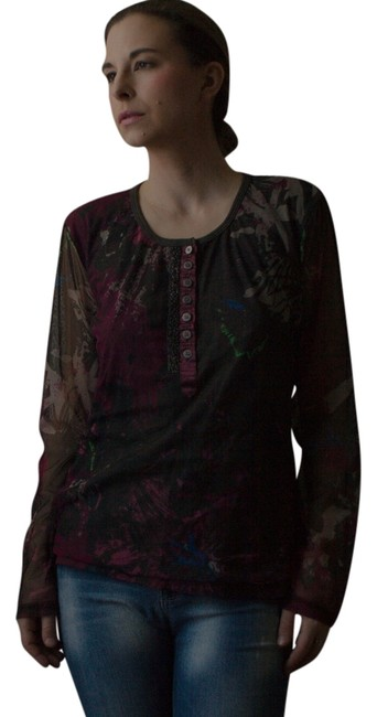 Marc Aurel Vintage 1990s 90s Beaded Hand Beaded Splatter Print Abstract Print Sheer Long Sleeve Button Down Hipster Punk 1980s Top brown, magenta, blue, green, gray