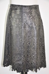 Heike Jarick High Low Leather Laser Leather Lace Size 6 Skirt Black/Brown