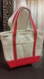 Lands' End Tote in Canvas Red and Tan