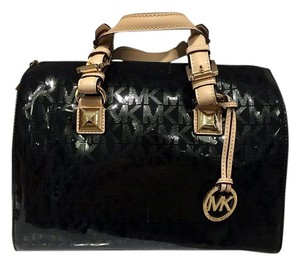 Michael Kors Signature Patent Leather Monogram Speedy Satchel in Black