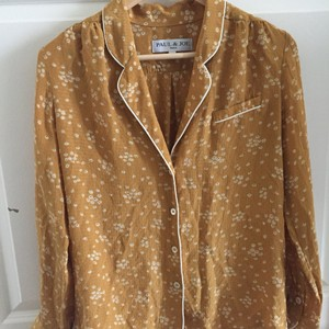 Paul & Joe Silk & Floral Button Down Shirt Gold / Yellow