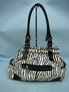 Kathy Van Zeeland Zebra Satchel in Black & White