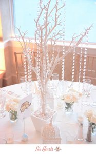 White Manzanita Tree Centerpieces With Crystal Garland