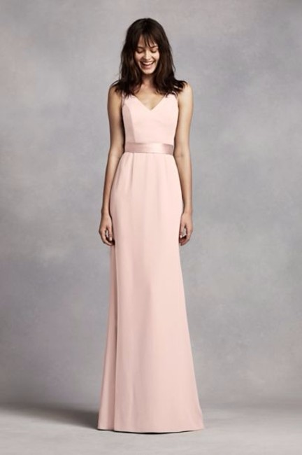 Item - Blush V Neck Crepe Gown with Open Back Long Formal Dress Size 4 (S)