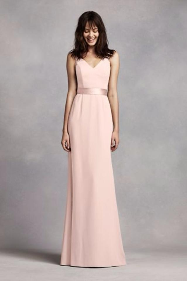Vera Wang Blush V Neck Crepe Gown with Open Back Long Formal Dress ...