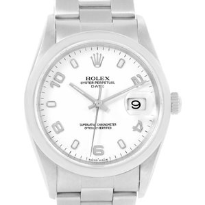 Rolex Rolex Date Mens White Dial Stainless Steel Automatic Watch 15200